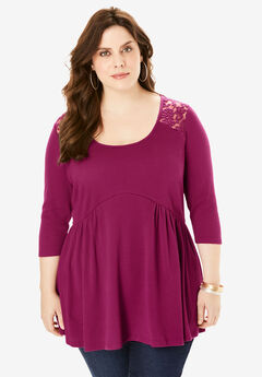 Fit-And-Flare Lace-Back Tunic,