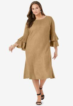 Ruffle Bell-Sleeve Dress,