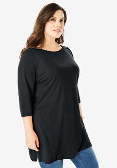 Boatneck Ultimate Tunic with Side Slits, BLACK