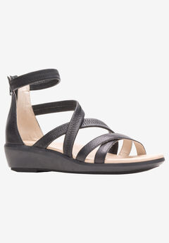 Lyricale Backzip Sandal by Hush Puppies®, BLACK LEATHER