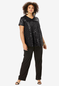 Sequin Tunic & Pant Set, BLACK
