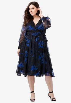 Burnout Wrap Dress with Blouson Sleeves,