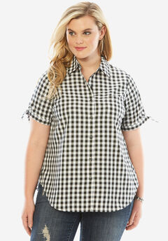 Gingham Shirt with Sleeve Ties, BLACK CHECK