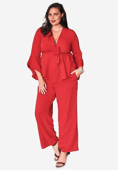Pantsuit with Bell Sleeves, BRIGHT RUBY