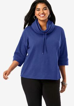Drawstring Cowlneck Sweatshirt,