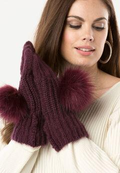 Knit Pom-Pom Gloves,