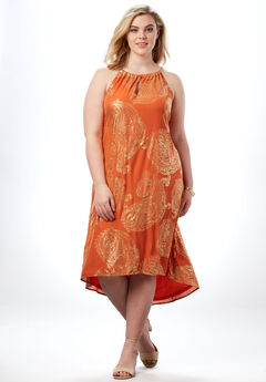 High-Low Paisley Dress with Chain Neckline,