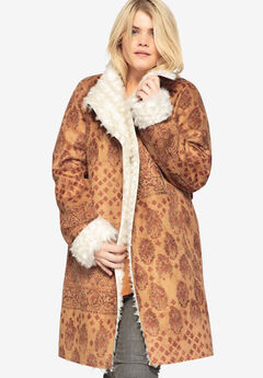 99270d08b89d3 Printed Faux-Shearling Coat With Shawl Collar by Castaluna