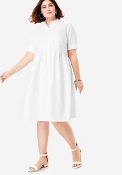 Roll-Sleeve Swing Shirtdress,