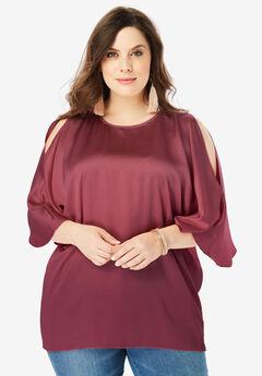 Cold-Shoulder Wide-Sleeve Blouse,