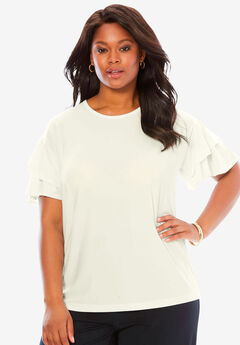 Scoopneck Ruffle-Sleeve Top, IVORY