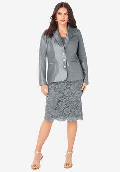 Two-Piece Lace Skirt Suit, GUNMETAL