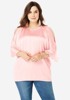 Cold-Shoulder Wide-Sleeve Blouse,