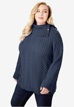Button Cowl-Neck Sweater with Flared Sleeves,