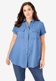 Seersucker Shirt, HORIZON BLUE