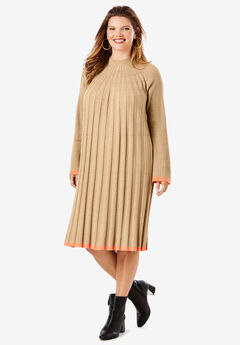 Swing Sweater Dress with Contrast Trim,