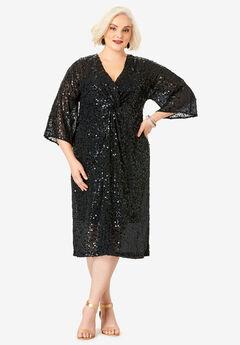 Knot-Front Sheath Dress, BLACK
