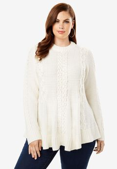 Cable Knit Fit & Flare Sweater,