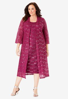 Lace & Sequin Jacket Dress Set, BERRY TWIST
