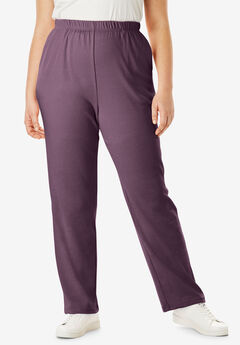 Straight-Leg Soft Knit Pant, EGGPLANT