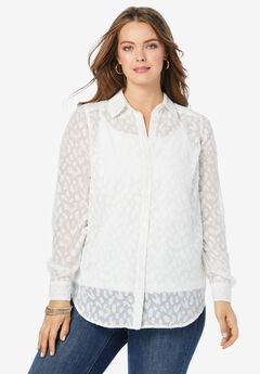 Animal Print Burnout Big Shirt,