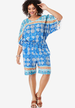 Floral Border Romper with Tassels,