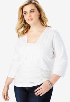 Bolero Cardigan with Three-Quarter Sleeves, WHITE