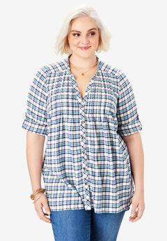 Flannel Pintuck Tunic, IVORY MINI PLAID