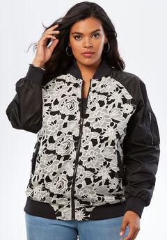Lace-Front Bomber Jacket, BLACK