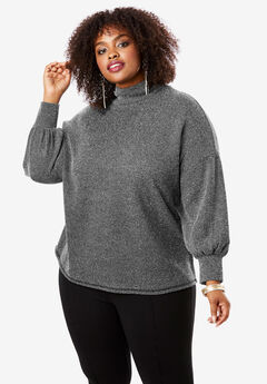 Mockneck Pullover Top, BLACK WHITE MARLED