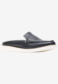 Chowchow Perf Lace Slides by Hush Puppies®, BLACK LEATHER