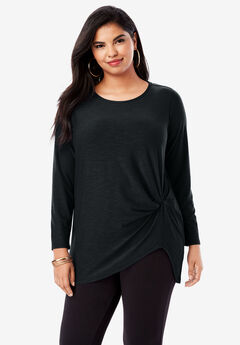 Side-Twist Tee with High-Low Hem, BLACK