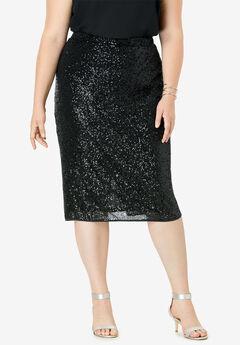 Sequin Pencil Skirt, BLACK