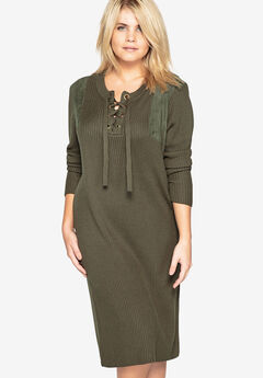 Lace-Up Sweater Dress with Faux Suede Shoulders by Castaluna, OLIVE
