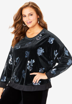 Sequin Embellished Velour Top,