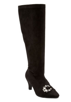 The Chrissy Wide Calf Boot by Comfortview®, BLACK