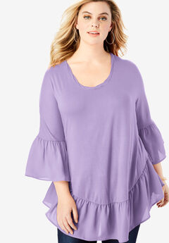 Ruffle-Hem Tunic with Bell Sleeves,