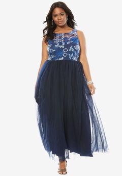 Floral Bodice Gown, BLUE FLORAL
