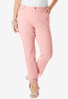 Lace-Hem Skinny Jean By Denim 24/7®, SOFT BLUSH
