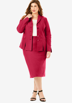 Two-Piece Skirt Suit with Shawl-Collar Jacket, CLASSIC RED