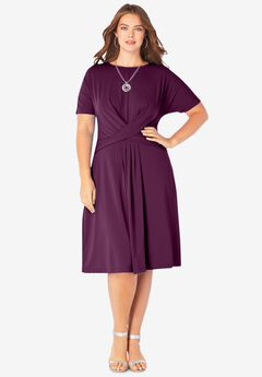 Ultrasmooth® Fabric Twist-Front Dress, DARK BERRY