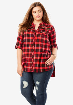 Plaid Flannel Maxi Tunic with High-Low Hem,