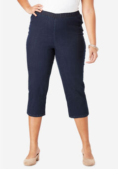 Pull-On Stretch Denim Capri Jean by Denim 24/7®, INDIGO WASH