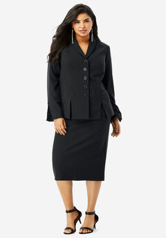 Two-Piece Skirt Suit with Shawl-Collar Jacket, BLACK