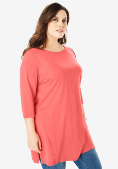 Boatneck Ultimate Tunic with Side Slits,