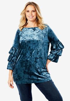 Crushed Velour Bubble Sleeve Top,