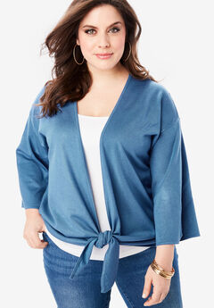 Tie-Front Cardigan with Kimono Sleeves, DUSTY INDIGO