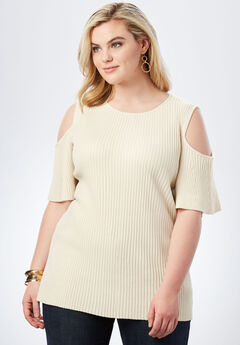 Ribbed Cold-Shoulder Sweater with Bell Sleeves,