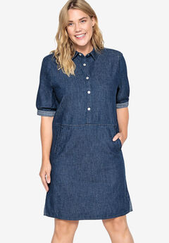 Denim Snap Front Shirtdress Castaluna by La Redoute, DARK BLUE DENIM