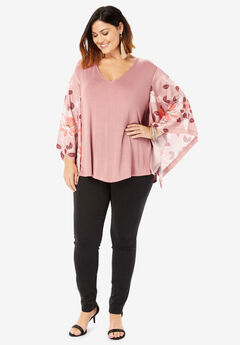 Kimono Sleeve Tunic with High-Low Hem,